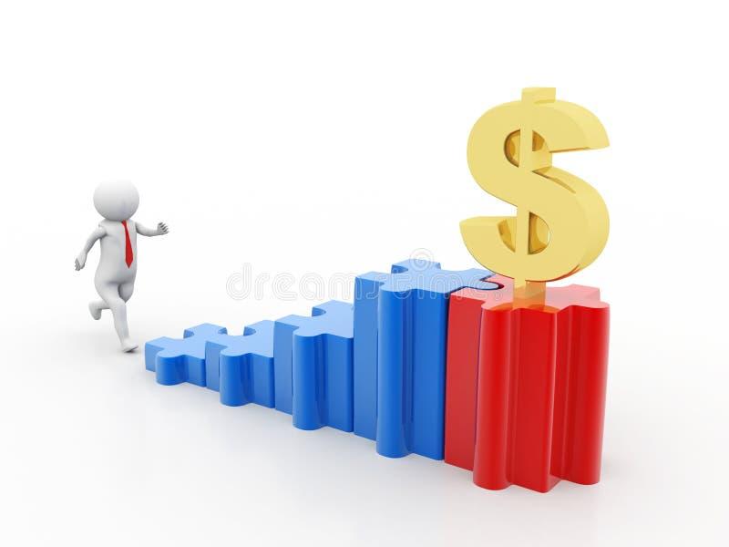 Homem de negócio que corre em direção ao dólar 3d rendem ilustração stock