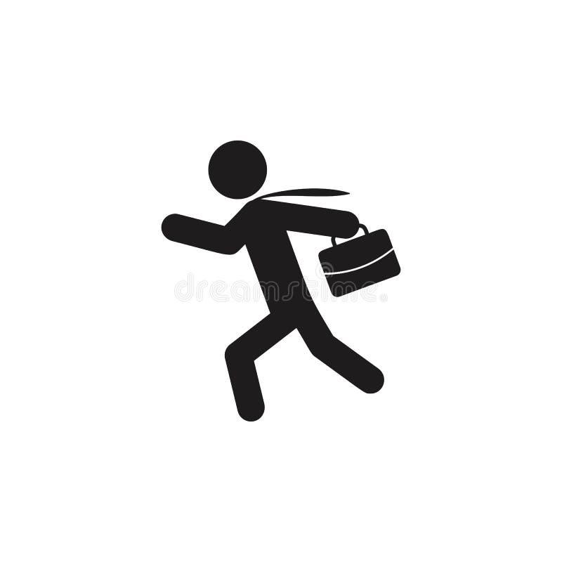 homem de negócio que corre em torno do ícone Ícone detalhado do ícone principal da caça e do empregado Projeto gráfico da qualida fotografia de stock royalty free