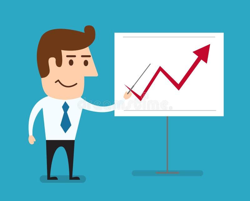 Homem de negócio que está apontando no gráfico crescente da carta ilustração royalty free