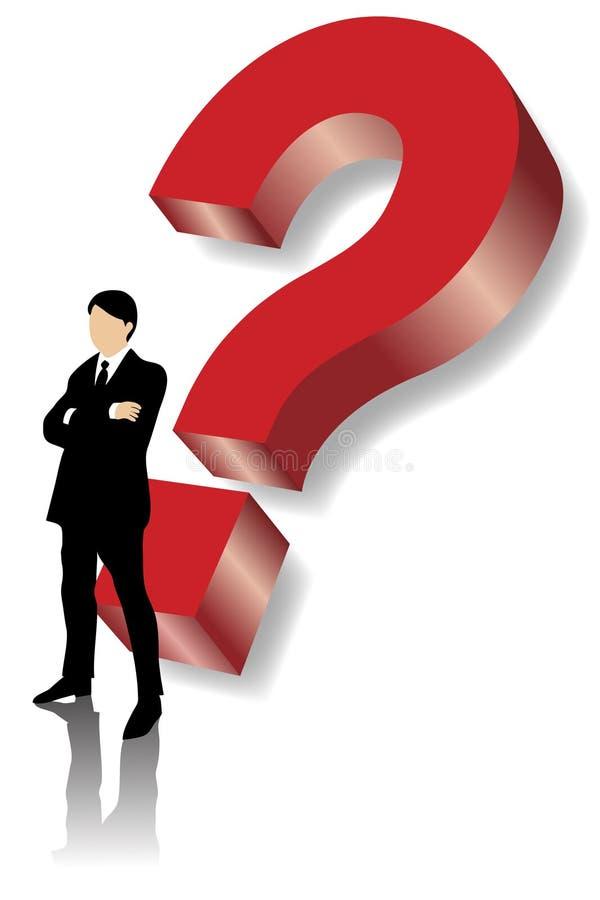 Homem de negócio que está na frente da pergunta vermelha grande ilustração royalty free