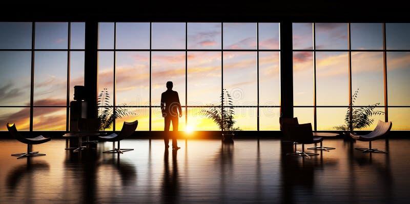 Homem de negócio que está no escritório que olha fora da janela no céu do por do sol ilustração do vetor
