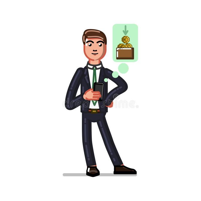 Homem de negócio que faz o dinheiro ilustração royalty free