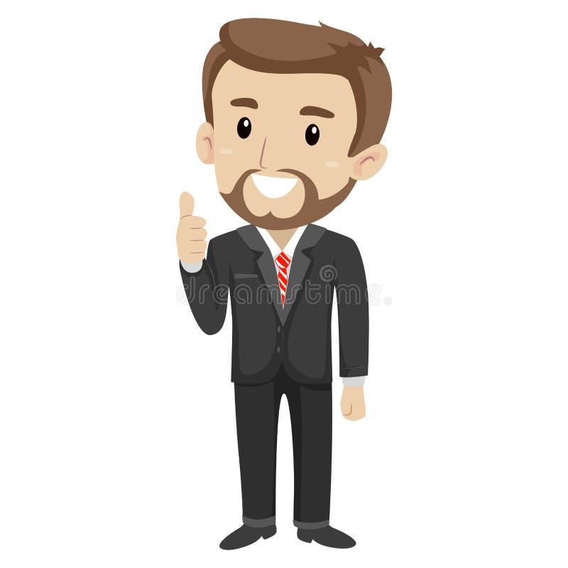 Homem de negócio que faz os polegares acima ilustração do vetor
