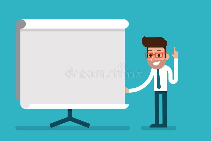 Homem de negócio que guarda o whiteboard - apresentação ilustração royalty free