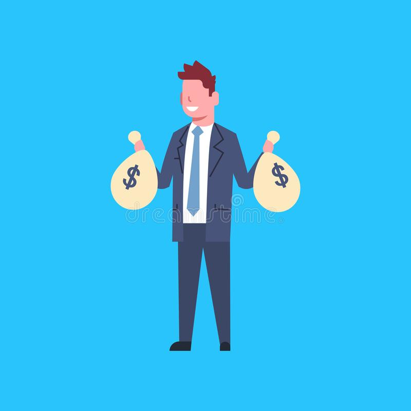 Homem de negócio que guarda sacos com o homem de negócios bem sucedido Isolated do trabalhador de escritório do dinheiro ilustração stock