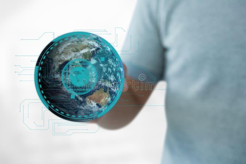 Homem de negócio que guarda um globo com conectores imagens de stock royalty free