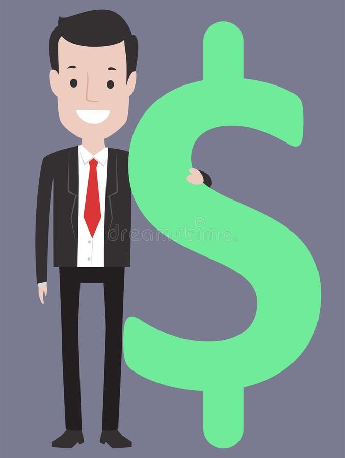 Homem de negócio que guarda um sinal de dólar ilustração royalty free
