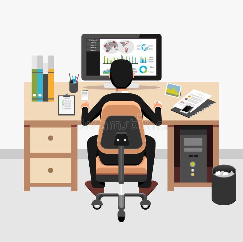 Homem de negócio que monitora a aplicação do painel do negócio em seu local de trabalho ilustração do vetor