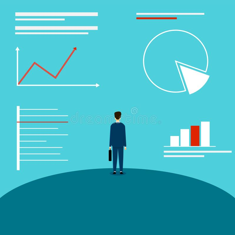 Homem de negócio que olha os gráficos An?lise do mercado Plano de negócios ir acima Projeto da ilustra??o do vetor ilustração do vetor
