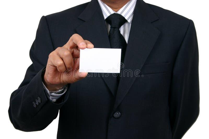 Homem de negócio que prende um nome Ca fotos de stock