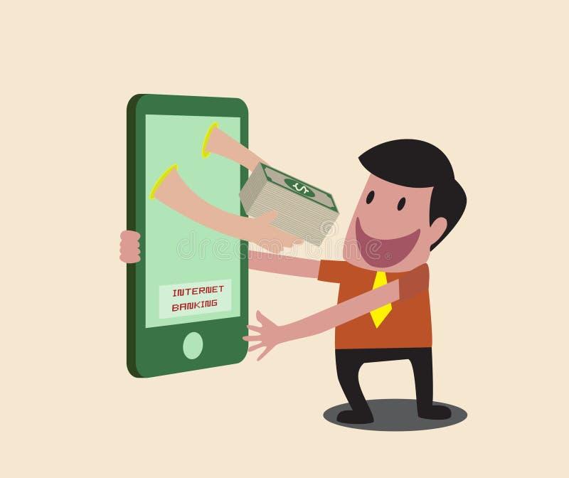 Homem de negócio que recebe o dinheiro sobre a transação móvel do Internet ilustração royalty free