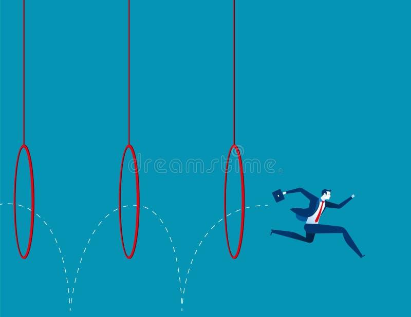 Homem de negócio que salta através das aros ilustração royalty free