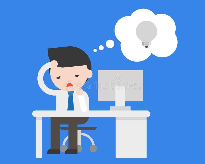 Homem de negócio que senta-se no escritório e que sente maçante porque falta de ilustração do vetor
