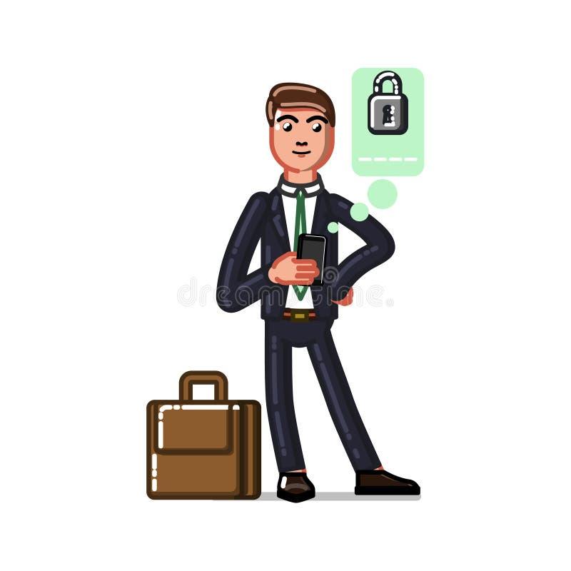 Homem de negócio que seting acima de um pasword ilustração royalty free