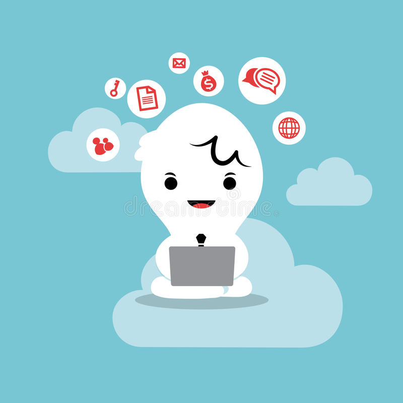 Homem de negócio que trabalha com rede da nuvem do portátil ilustração stock