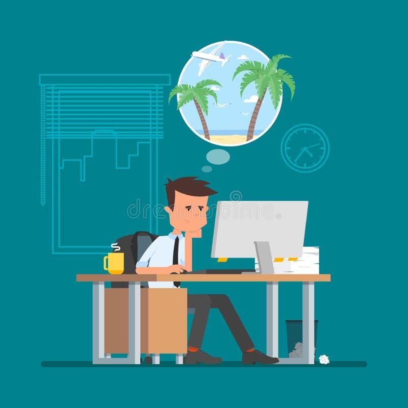 Homem de negócio que trabalha duramente e que sonha sobre férias em uma praia Ilustração do vetor no estilo liso dos desenhos ani ilustração do vetor