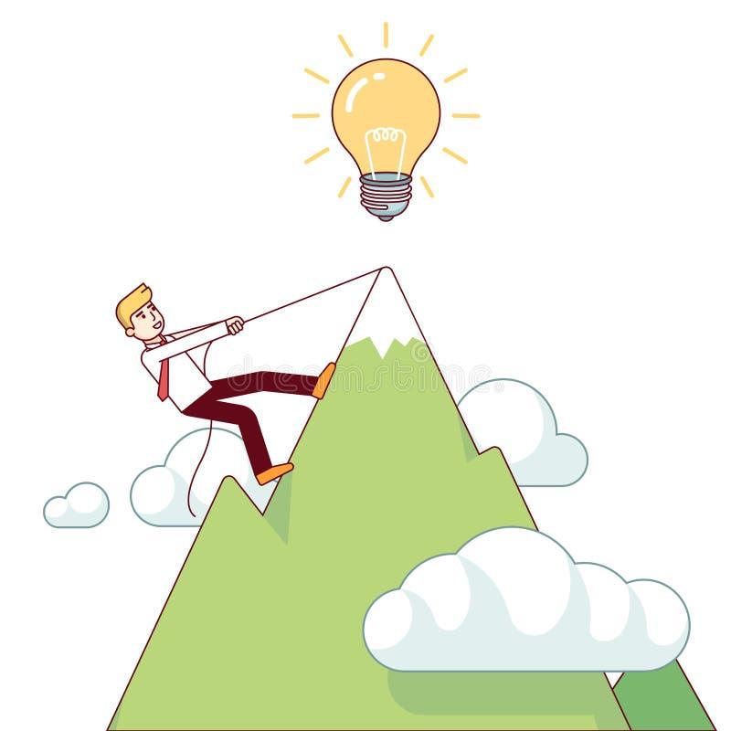 Homem de negócio que trabalha a montanha duramente de escalada ilustração royalty free