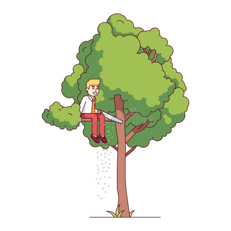 Homem de negócio que vê fora do ramo de árvore ilustração royalty free