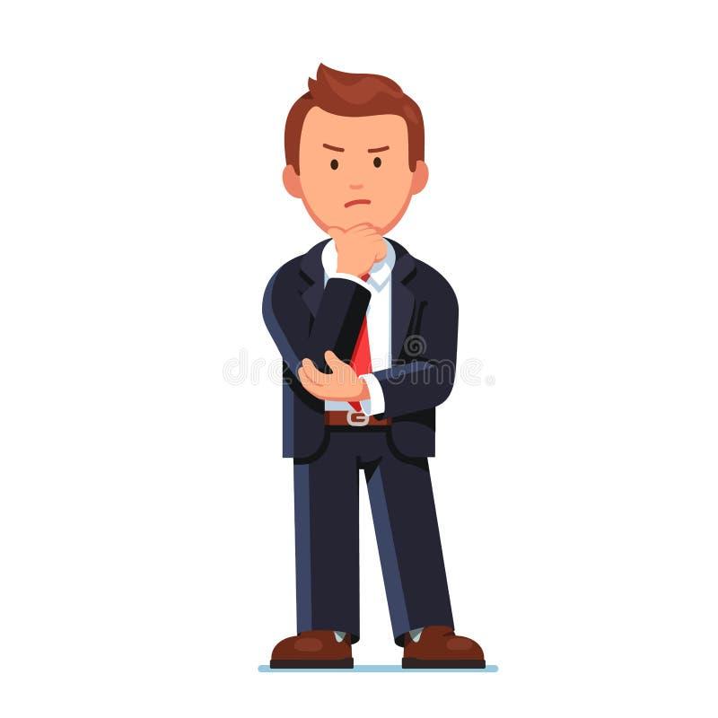 Homem de negócio sério que está com cara irritada ilustração royalty free