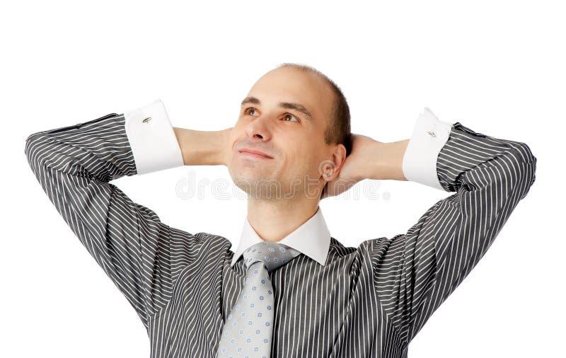 Homem de negócio satisfeito novo imagem de stock