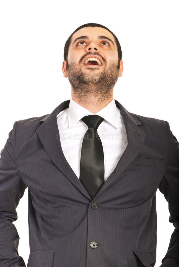 Homem De Negócio Surpreendido Que Olha Acima Imagem de Stock Royalty Free