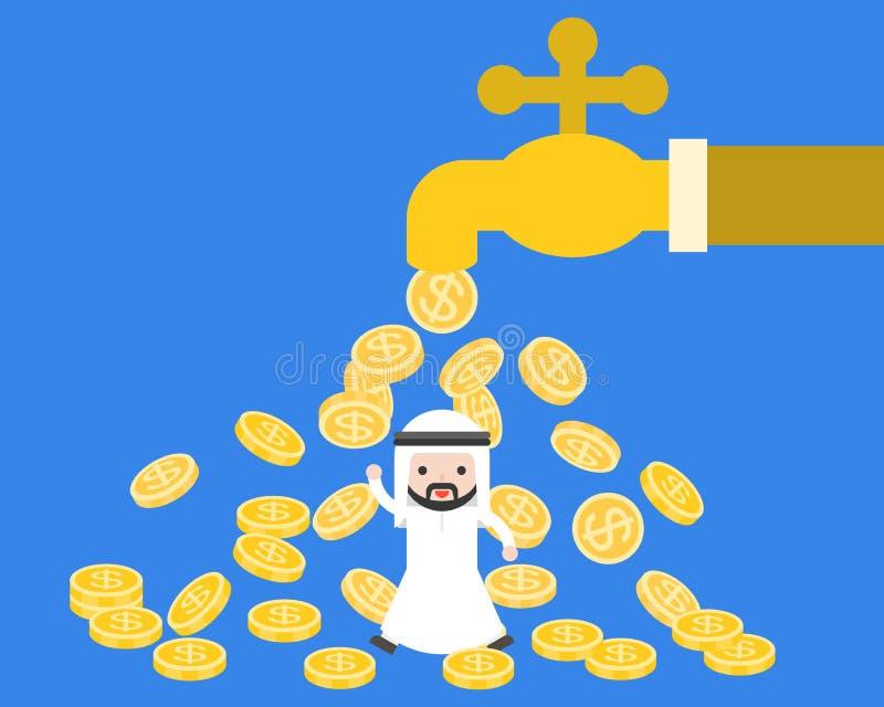 Homem de negócios árabe bonito do saudita sob as moedas de ouro que fluem do gigante ilustração royalty free