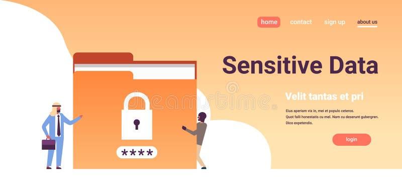 Homem de negócios árabe com o plano fechado do base de dados da informação da privacidade do conceito dos dados sensíveis do dobr ilustração stock