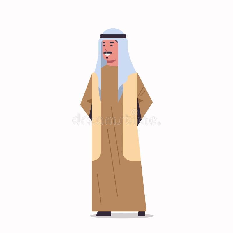 Homem de negócios árabe no homem árabe do hijab que veste a roupa tradicional que está para levantar completamente o personagem d ilustração do vetor