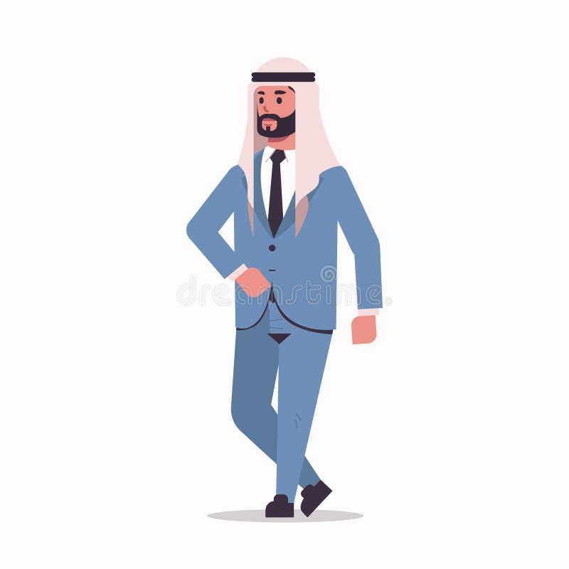 Homem de negócios árabe no homem de negócio farpado estando do árabe da pose do hijab que veste o personagem de banda desenhada m ilustração stock