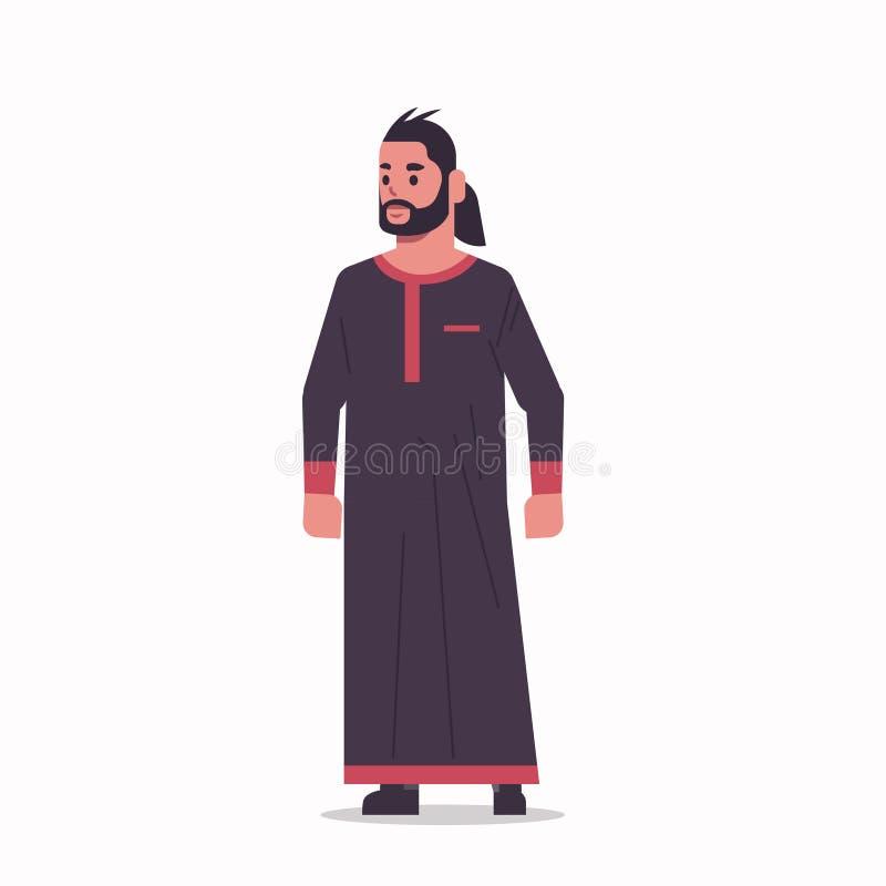 Homem de negócios árabe de pé pose homem árabe vestindo roupas tradicionais árabes personagem de desenho animado masculino de com ilustração stock