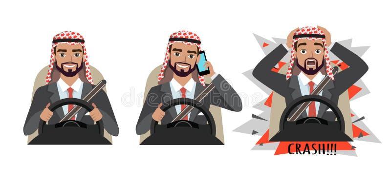 Homem de negócios árabe que conduz um carro Equipe a condução de um carro que fala no telefone O homem teve um acidente crash ilustração royalty free