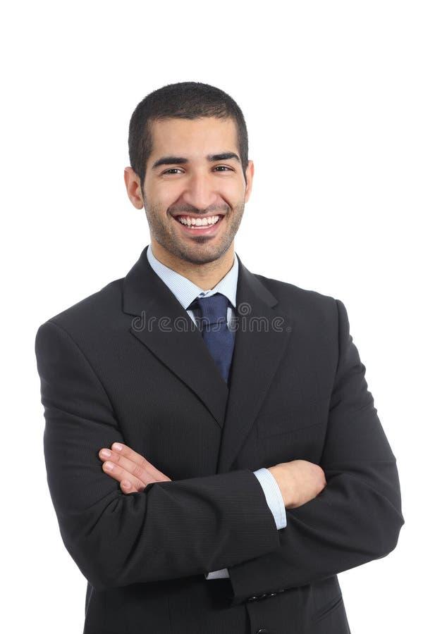 Homem de negócios árabe que levanta estar com braços dobrados imagens de stock