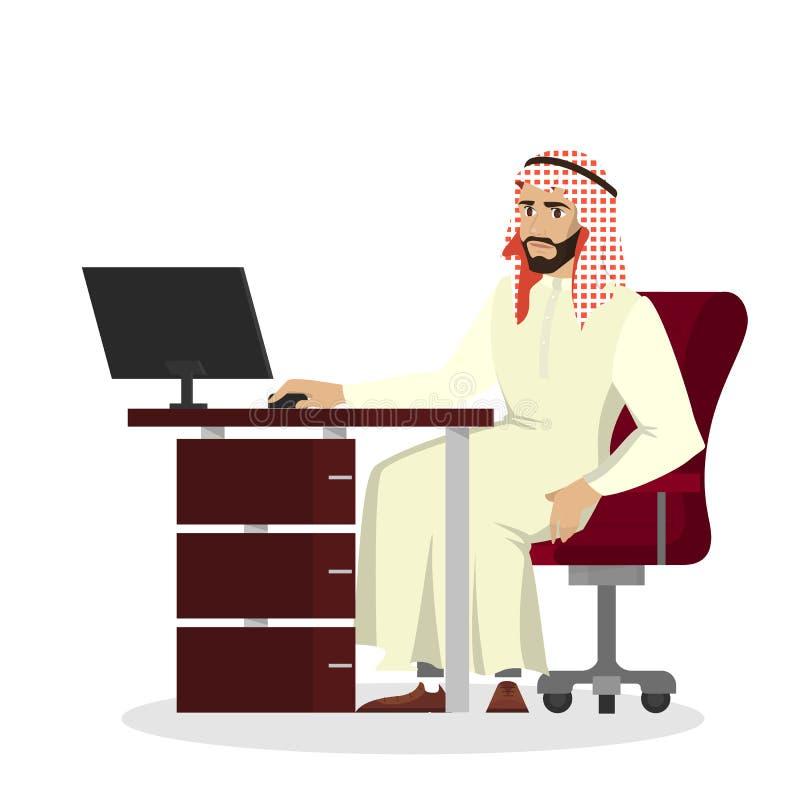 Homem de negócios árabe que trabalha na mesa no computador ilustração royalty free
