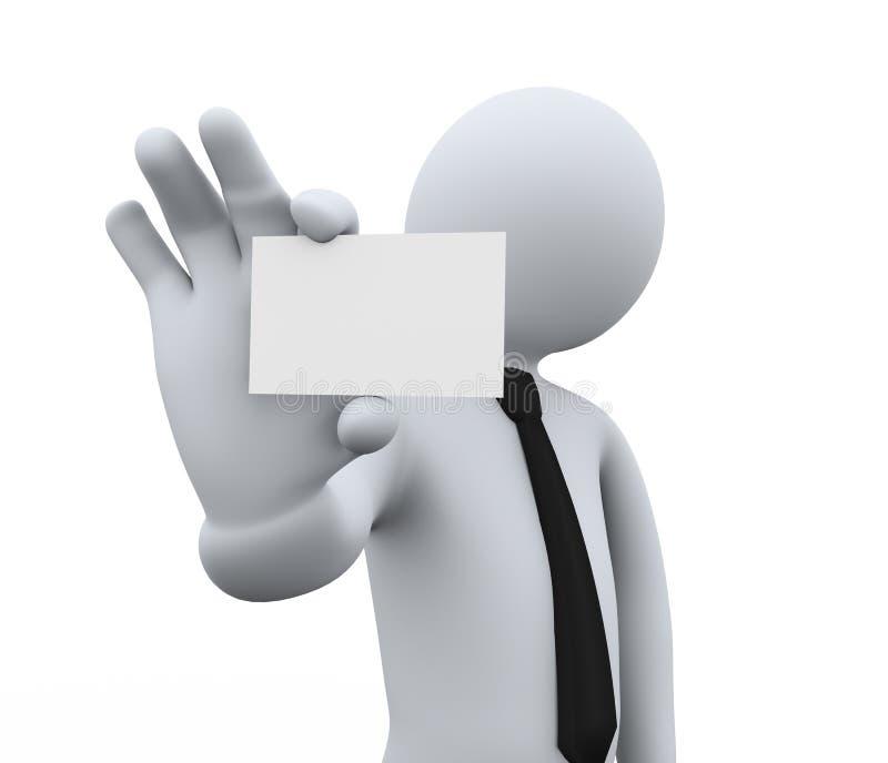 homem de negócios 3d que mostra o cartão em branco ilustração royalty free