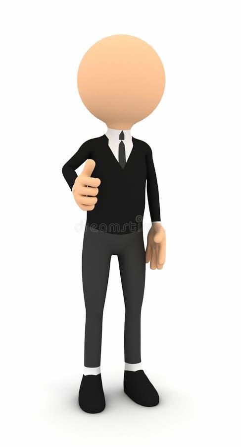 homem de negócios 3d que mostra os polegares no fundo branco ilustração do vetor