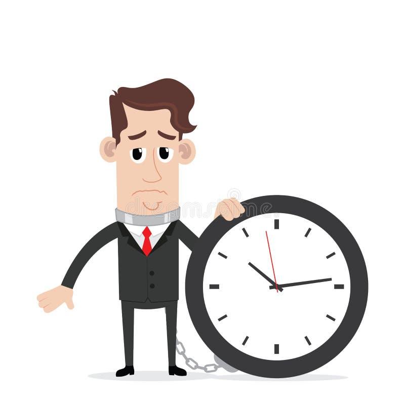 Homem de negócios acorrentado ao tempo ilustração do vetor