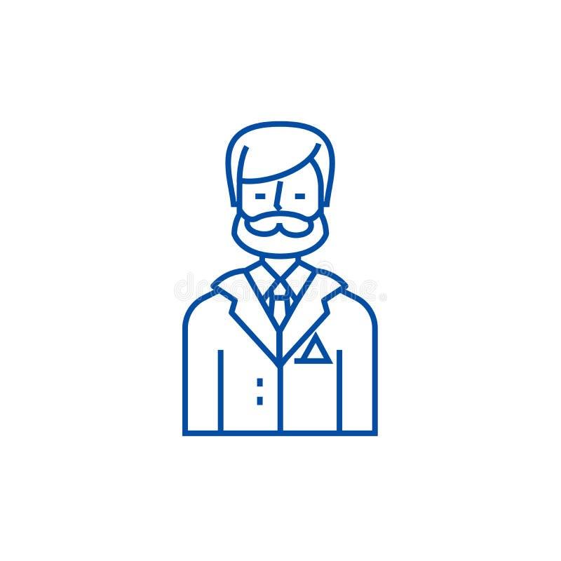 Homem de negócios, advogado do negócio, linha conceito do assessor legal do ícone Homem de negócios, advogado do negócio, vetor l ilustração stock