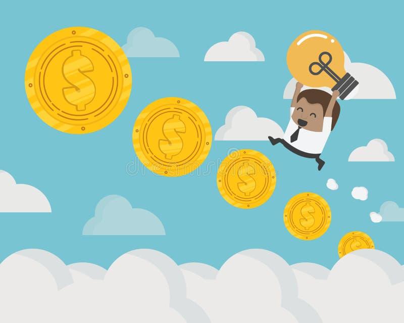 homem de negócios africano acima das etapas da moeda da escada das moedas ao th ilustração do vetor