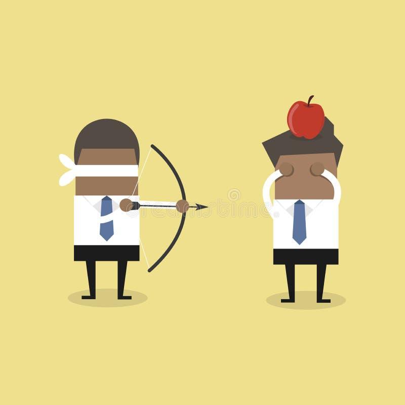Homem de negócios africano da venda que aponta disparar na maçã em uma outra cabeça do homem ilustração do vetor