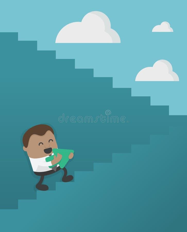 Homem de negócios africano dos desenhos animados do conceito do negócio que anda acima na escada ilustração royalty free