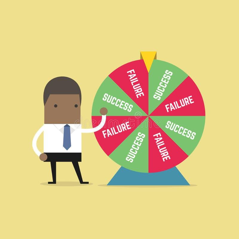 Homem de negócios africano e resultado da roda da fortuna ilustração do vetor