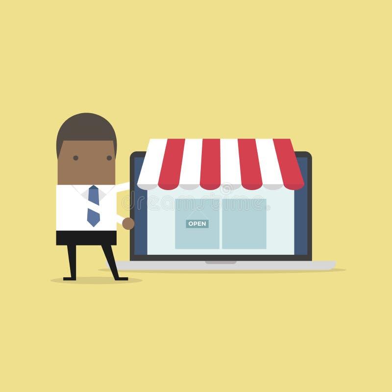 Homem de negócios africano para promover a loja em linha no portátil ilustração do vetor