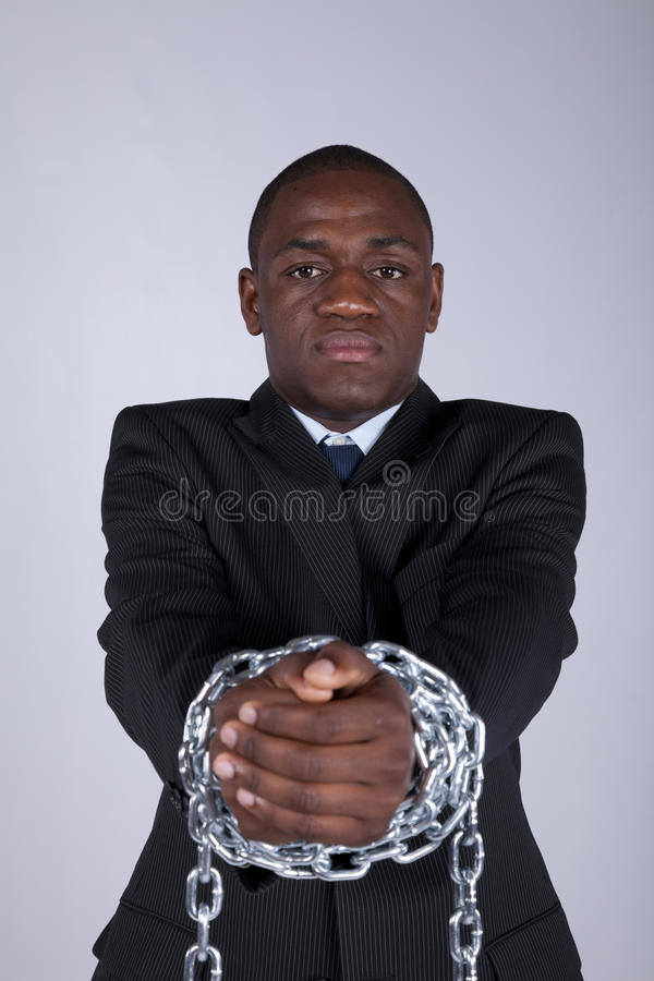 Homem de negócios africano prendido imagem de stock royalty free