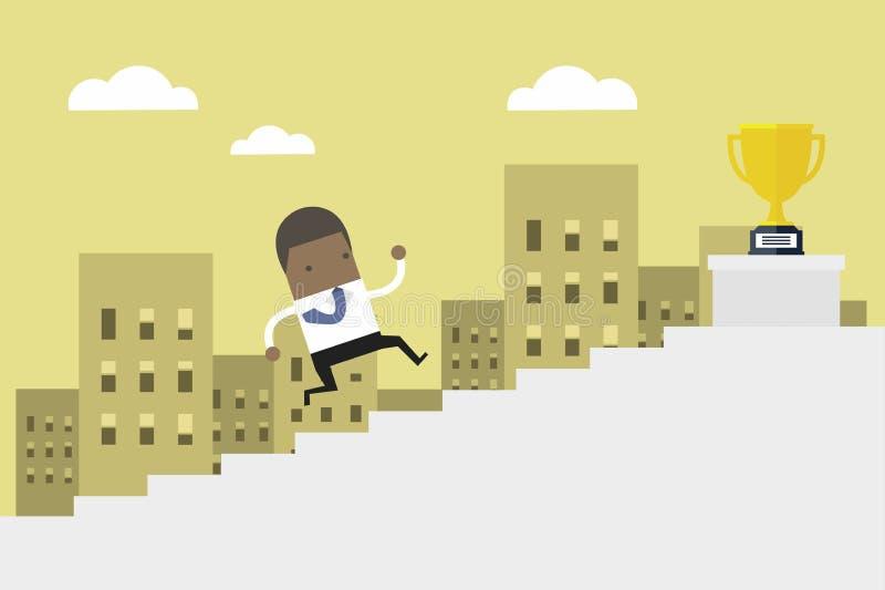 Homem de negócios africano que corre acima escadas, preço da vitória do homem de negócio do conceito ilustração stock