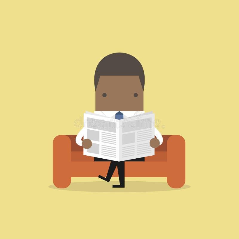 Homem de negócios africano que lê um jornal no sofá na sala e no escritório ilustração stock