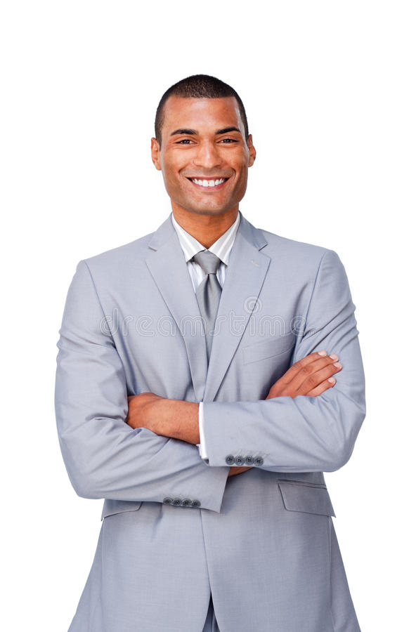 Homem de negócios afro-americano com braços dobrados imagem de stock
