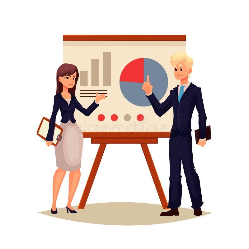 Homem de negócios afro-americano e mulher de negócios que guardam a apresentação ilustração stock