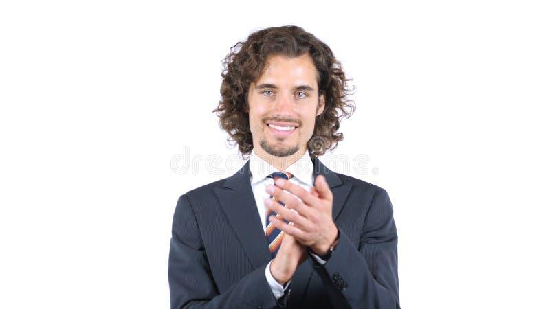 Homem de negócios alegre que aplaude, cabelos encaracolado fotografia de stock royalty free