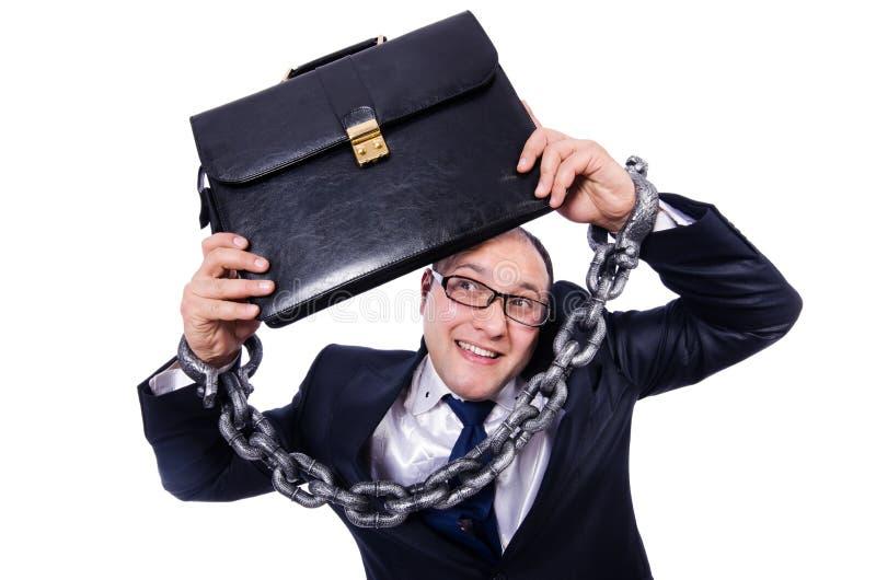 Homem de negócios algemado isolado no branco imagem de stock royalty free