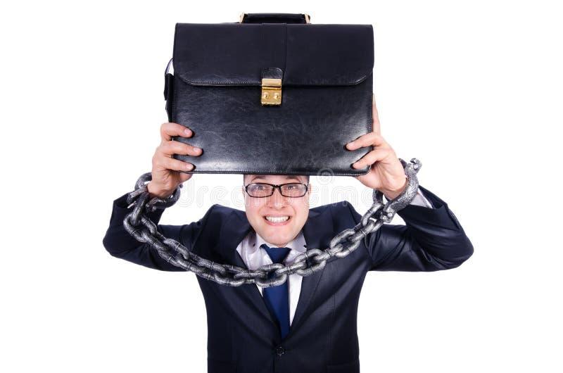 Homem de negócios algemado isolado no branco imagem de stock